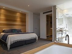 Love the idea of a bath in the master bedroom