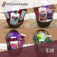 Bath & Body Works gift baskets Brand new all wrapped and ready to ship! NO TRADES. All products in the basket are full sized big bottles. Basket includes lotion (8 oz), shower gel (10 oz) and body mist (8 oz). Bath sponge also included. Call or text for more information 941-779-7873. PAYPAL is accepted if you don't want to go through poshmark. If you go through Paypal the price is cheaper! Comment the one you would like! Basket 1: Hello Beautiful Basket 2: Lavender & Honey Basket 3: Sweet…