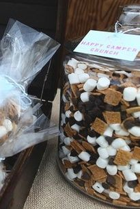 S'more trail mix. 4 cups Golden Grahams cereal 3 cups mini marshmallows 2 cups milk chocolate chips (or M's, if you want to add in more color)- great for outdoor movies