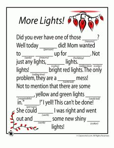 Free Printable Christmas Mad Libs. Several to choose from- put kids together in groups to work on it then read aloud. SO FUN!