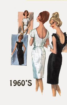 Vintage 1960s MOD Sheath Cocktail Dress w/ Low Round Back w/ or w/o Ruffles Sewing Pattern Simplicity 5486 60s era Pattern Size 12 Bust 32 by sandritocat on Etsy