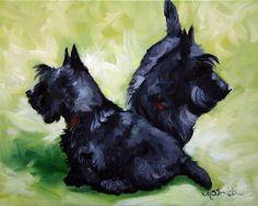 PRINT Black Scottish Terrier Scottie Dog Puppy Art Oil Painting / Mary Sparrow Smith