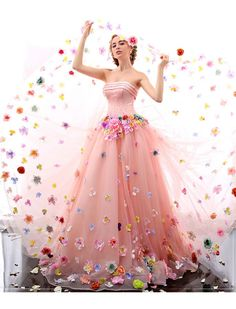 Romantic Strapless Floral Retro Prom Dress