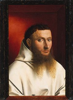 Portrait of a Carthusian, 1446  Petrus Christus (Netherlandish, active by 1444, died 1475/76)  Oil on wood  Overall 11 1/2 x 8 1/2 in. (29.2 x 21.6 cm); painted surface 11 1/2 x 7 3/8 in. (29.2 x 18.7 cm)  The Jules Bache Collection, 1949 (49.7.19)