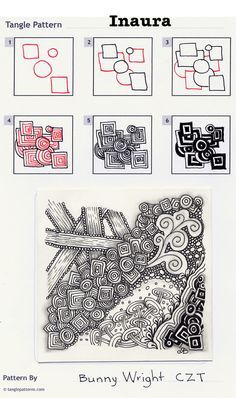 Inaura Zentangle doodles how to Tangle: Pattern Tutorial Zentangle Steps Tangle Doodle, Tangle Art, Zen Doodle, Doodle Art, Zentangle Drawings, Doodles Zentangles, Doodle Drawings, Doodle Patterns, Zentangle Patterns