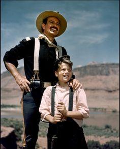 RIO GRANDE (1950) - John Wayne and his son Patrick Wayne on location in Utah - Directed by John Ford - Republic Pictures.