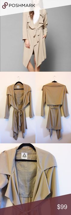 UNIF Flasher Drapey Trench Jacket New without tags UNIF jacket from Urban Outfitters! Size L. Cropped lining and draped, silky fabric. Perfect over a flowy white top and ripped jeans! Make me an offer! UNIF Jackets & Coats Trench Coats