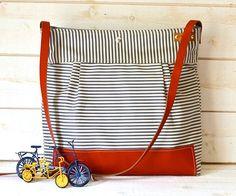 Handmade BEST SELLER Diaper bag / Messenger bag STOCKHOLM Gray  geometric nautical striped  Leather