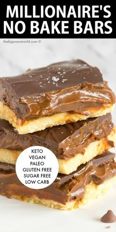 Easy Healthy No Bake Millionaire& Bars (Caramel Shortbread)- Keto and low carb and sugar free recipe, made up of three delicious layers- Vegan, Gluten Free, Paleo. Sugar Free Deserts, Sugar Free Snacks, Low Sugar Desserts, Sugar Free Baking, Gluten Free Deserts, Low Sugar Recipes, No Sugar Foods, Healthy Dessert Recipes, Gluten Free Recipes Low Carb