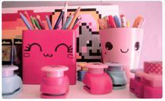 Chez cette Fille: Les pots à crayons Kawaii... jevais customiser mes boites dans mon atelier moi