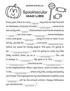 School Holidays, Holidays Halloween, Halloween Kids, Halloween Party, Halloween Worksheets, Halloween Activities For Kids, Pumpkin Patch Party, Classroom Treats, Mad Libs