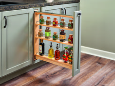 """Designed for full-height 6"""" and 9"""" base cabinets, the beautiful 438-BC Series Base Organizers feature adjustable shelves with chrome rails to help keep everything in its place. Designed with a top slide for complete stability, it can be trimmed to 26-3/8"""" height for custom cabinet construction."""