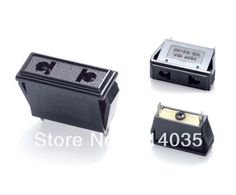 SS-6E  100Pcs Us Eu 2 Pins Plug Self Locking Power Socket Ac 250V 10A Travel Adaptor/Plug Converter in Black *CE Marked