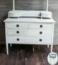 Dresser done in Websters mixed with Behr Antique White and MMS Milk paint in Trophy mixed as a wash.