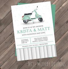 Vespa wedding shower invitation PDF by MissMurrayDesign on Etsy vintage scooter watercolor