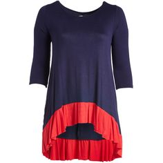 GLAM Navy & Red Colorblock Ruffle Tunic (€26) ❤ liked on Polyvore featuring plus size women's fashion, plus size clothing, plus size tops, plus size tunics, plus size, long tunics, plus size red tops and womens plus size tunics