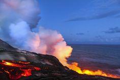 Uprising - Lava flow at dusk. Photography by Jason Weingart