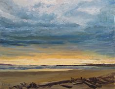 Clearing Skies Popham: fine art, impressionism, landscape, seascape oil painting on canvas that measures 14 x 18 inches by artist Felicity Sidwell, from 2015