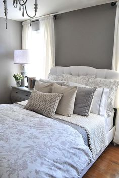 A guest bedroom makeover in grays
