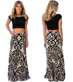 99f5e332e930 Ψηλόμεση φούστα σε γοργονέ γραμμή με μοντέρνο Damask τύπου τύπωμα Με φαρδύ  λάστιχο στη μέση και