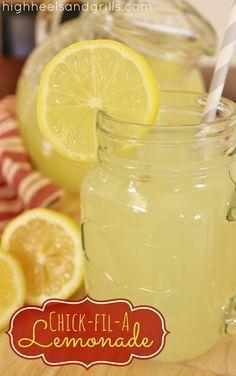 High Heels & Grills: Chick-Fil-A Lemonade. 1 & 1/2 cups freshly squeezed lemon juice   1 cup granulated sugar  5-6 cups water