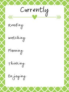 Free Currently Journal Card by Pam Middlebrooks