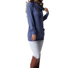 6515003a363ee5 levaca Womens Long Sleeve Button Cowl Neck Casual Slim Tunic Tops with  Pockets at Amazon Women s