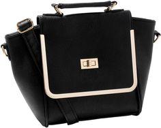 Bijou Brigitte  Tasche - Black One - Schwarze Tasche aus Kunstleder - mit Reißverschluss goldfarbene Schnalle