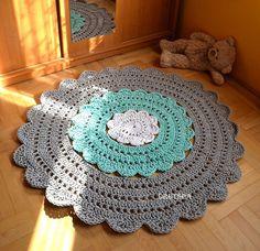Baby Flower Rug 54in (135 cm) nursery carpet crochet agnes rug round rug tapis enfant crochet babyshower rug modern teppich kinder houseware