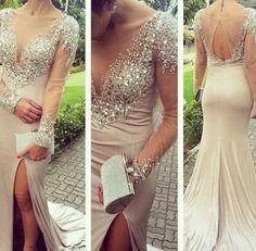 Prom Dress, See Through Dress, Long Dress, Beaded Dress, Sparkle Dress, Long Prom Dress, Dress Prom, See Through Prom Dress