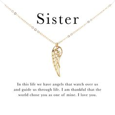 Angel Wing Necklace, Angel Wing Pendant, Sister Necklace, Sister Jewelry, Charmed Sisters, Soul Sisters, Gold Angel Wings, Sister Gifts, Sister Sister