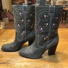 """Seychelles Embroidered Boot A pretty western-inspired boot by Seychelles. Rustic, grey leather with a distressed look. Barely worn. Leather with sweet floral embroidery. 3"""" heel. Seychelles Shoes Heeled Boots"""