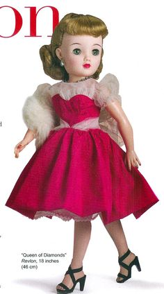 How I loved my Miss Revlon doll! Mine had a blue velvet dress with pink satin sah, black fishnets, these shoes...and a fur stole! The same earrings and necklace...