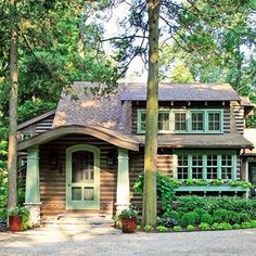 Lake Michigan Cabin Makeover -- A quirky craftsman-built Indiana cabin becomes an enchanting cottage getaway after a thorough, true-to-its-roots makeover. Lake Cottage, Cozy Cottage, Cottage Style, Mountain Cottage, Lakeside Cottage, Cottage Ideas, Coastal Cottage, Lake Cabins, Cabins And Cottages