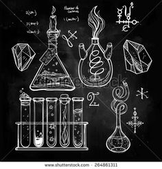 Hand drawn vintage laboratory icons sketch. Chalk on a blackboard. Vector illustration.Back to School. Science lab objects doodle style sketch,Magical elements. Alchemy and vintage medieval science.