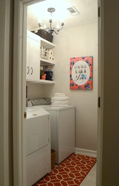 Lovely laundry room makeover on a tight budget. If you needed inspiration...this is it! Find more great laundry decor at LaundryShoppe.com