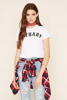 """Crybaby Graphic Tee  $14.90  A knit tee featuring a crew neckline, short sleeves, and a """"Cry Baby"""" graphic on the front."""