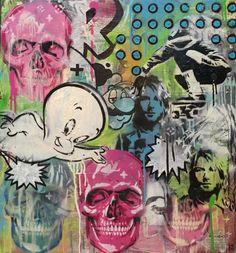 INDO Street Artist  Skull Candy  Original Mixed Media on Board 65cm x 59cm