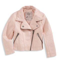 Fake leather pink girls biker jacket C&A