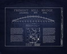 An architectural blueprint of brooklyn bridge gear pinterest art collectibles print featuring the digital art fremont mill bridge blueprint by sara harris malvernweather Gallery