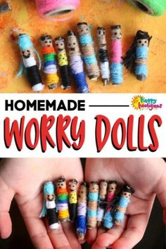 Homemade Worry Dolls for Kids to Make - Happy Hooligans Easy Art Projects, Projects For Kids, Crafts For Kids, Garden Projects, Poppy Craft For Kids, Art For Kids, Kids Fun, Remembrance Day Activities, Happy Hooligans