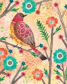 Floral Flight-Red Bird art by Lori Siebert by LoriSiebertStudio on Etsy