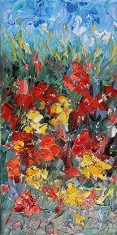 Palette Knife Impressionism Landscape Flower Painting Late Blooms by Colorado Impressionist Judith Babcock -- Judith Babcock