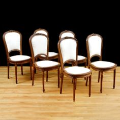Set of Six Antique Louis XVI Style French Dining Chairs in Walnut, c. 1870