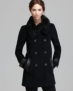 $895, Black Fur Collar Coat: Mackage Coat Joy Fur Trim Collar. Sold by Bloomingdale's. Click for more info: https://lookastic.com/women/shop_items/133400/redirect