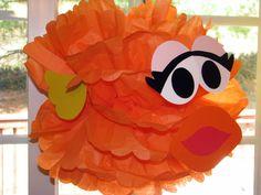 "Yellow Bird tissue paper pompom kit, inspired by ""Big Bird"" from Sesame Street Octonauts Party, Elmo Party, Sesame Street Party, Sesame Street Birthday, Elmo Birthday, Boy Birthday Parties, Birthday Ideas, Pet Goldfish, Pom Pom Decorations"