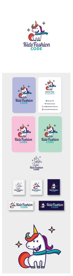 Top 9 designs for children's and kids brand. Logo and business card design featuring a cartoon unicorn by dondidora for Kid's Fashion Code, a children's apparel brand. #logodesign #businesscarddesign #businesscard