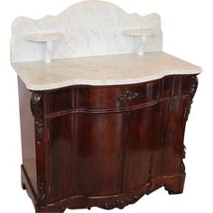 OUTSTANDING1860's American Rococo Rosewood Full Commode/Washstand