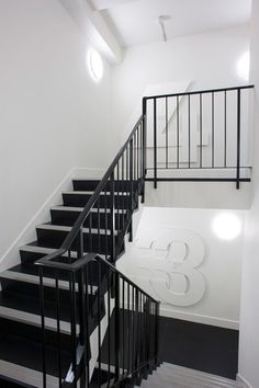 Creative Cn, Conde, Nas, and Wayfinding image ideas & inspiration on Designspiration Modern Stair Railing, Staircase Handrail, Railings, Interior Stairs, Interior And Exterior, Lofts, Townhouse Exterior, Building Stairs, Typography Layout