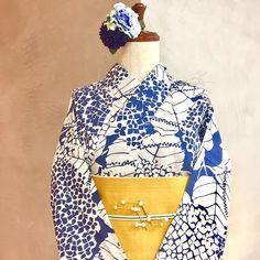 「夏美人」 #大塚呉服店 #otsukagofukuten #神戸 #三宮 #kobe #浴衣 #yukata #着物 #kimono #紫陽花 #花 #flower #髪飾り #macaflower #blue #お洒落 #ファッション #fashion #大人っぽい #aokiyuri #夏 #summer #instagood #ootd